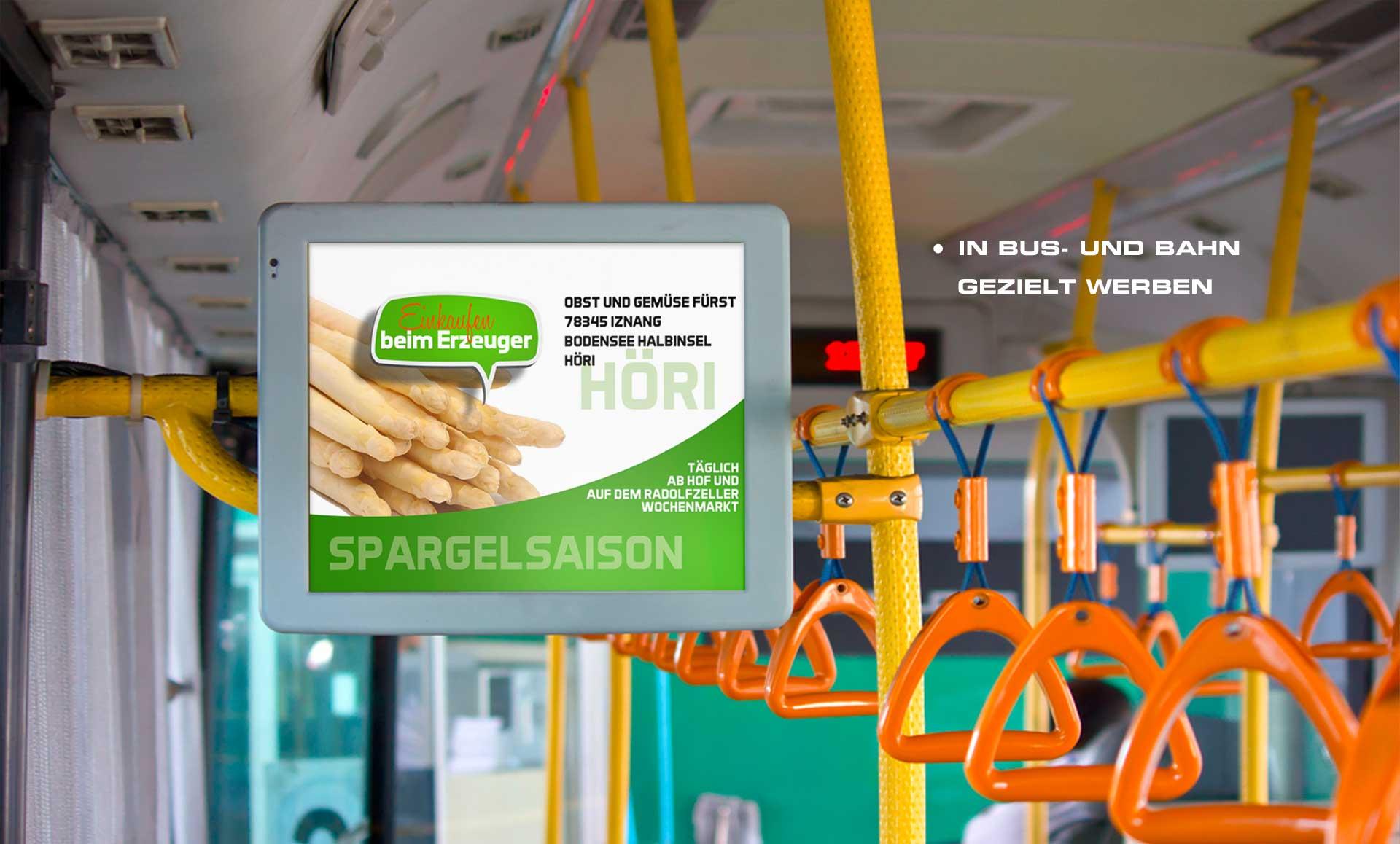 Buswerbung für Obst und Gemüse